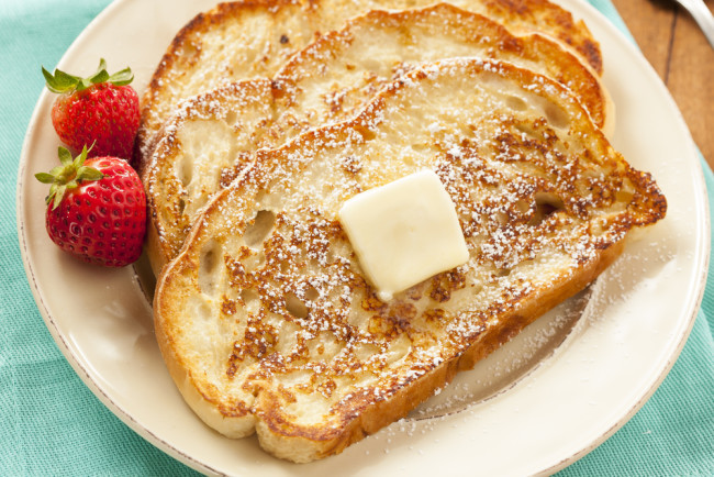 Homemade French Toast with Butter - This is a great morning food option if you struggle with digestive issue. The fiber helps with digestion and gets you off to a great start for the day.