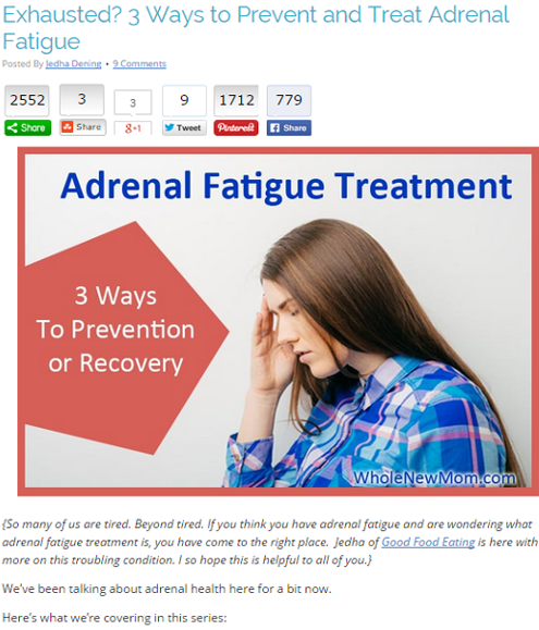 Adrenal Fatigue Treatment by Whole New Mom